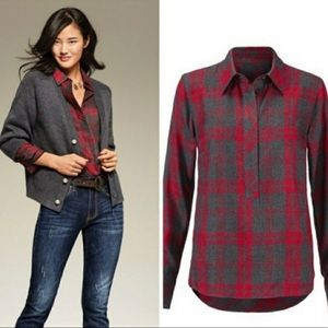 CAbi 3587 Cunningham Shirt  Red and Gray Plaid